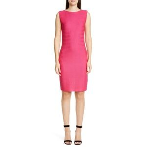 St.John Wool blended texture knit dress in pink